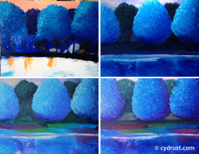 Ode In Blue..Creation montage runs L-R, T-B.