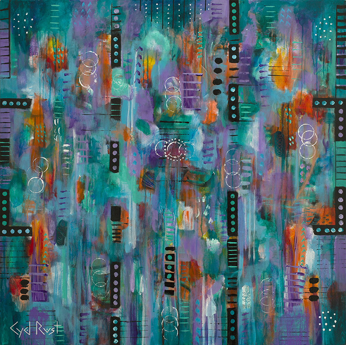 "CIRCLES, SPOTS AND DOTS ©Cyd Rust: A 36"" x 36"" Acrylic Painting on Gallery Wrapped Canvas"