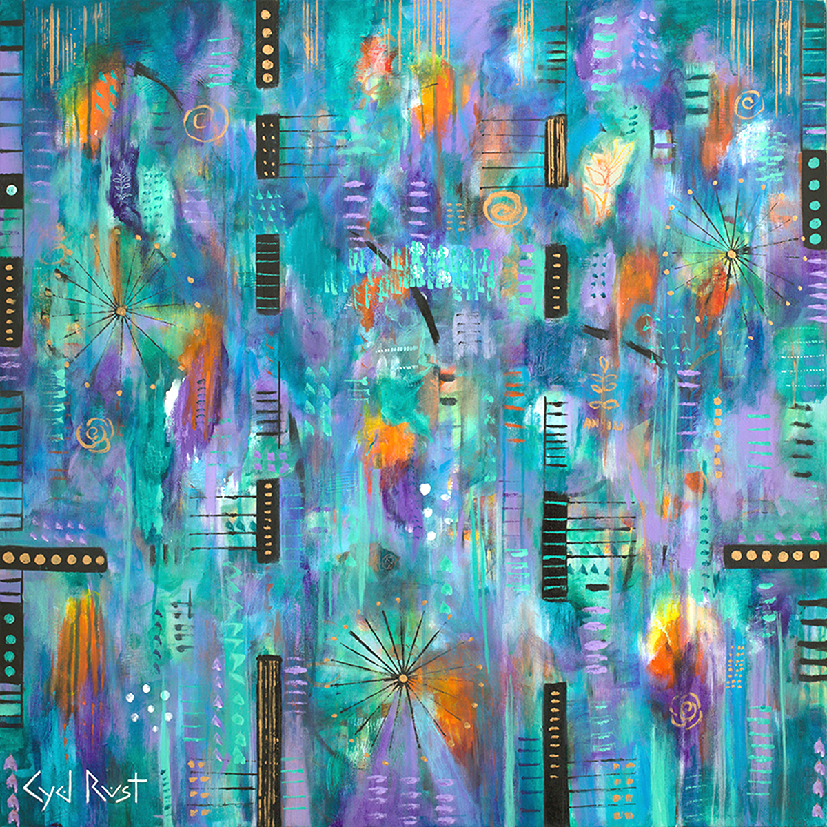 "LIFE UNRAVELED ©Cyd Rust: A 36"" x 36"" Acrylic Painting on Gallery Wrapped Canvas"