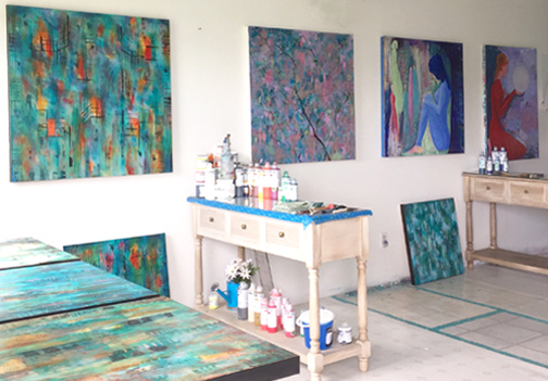 Cyd Rust's Studio set up for workshops.
