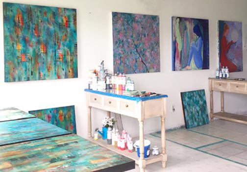 Cyd Rust's Studio set up for workshops.