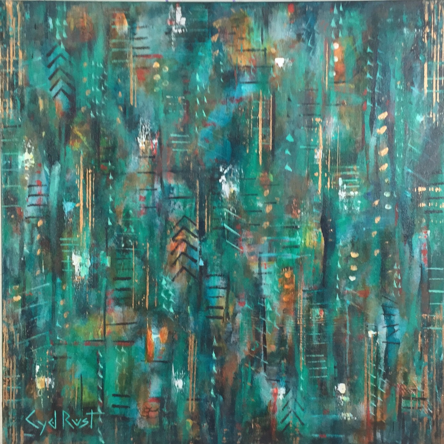 "IMPRINTS ©Cyd Rust: A 24"" x 24"" Acrylic Painting on Gallery Wrapped Canvas"